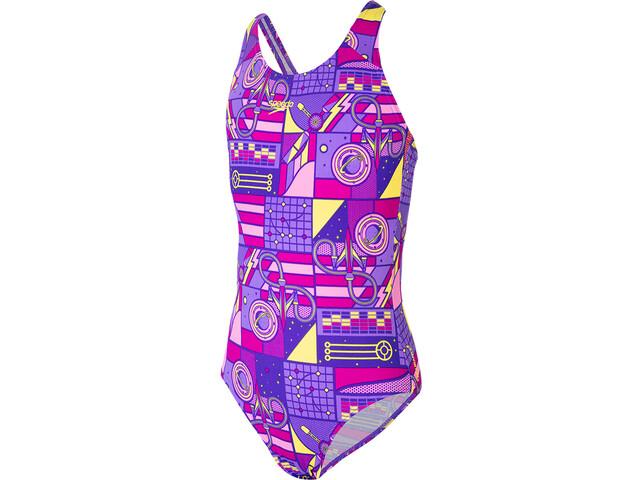 speedo Wet Allover Traje de Baño Splashback Niñas, violeta